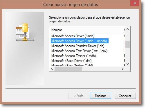 Creación de un ODBC Microsoft Access